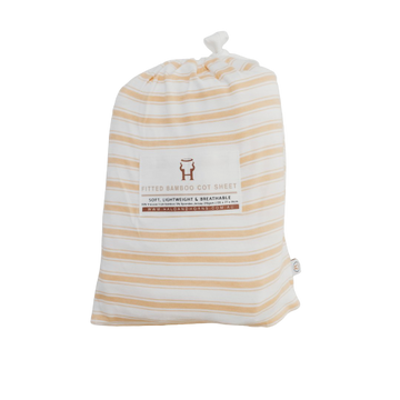 Bamboo Basics Fitted Cot Sheet / Wheat Stripe (PRE-ORDER MID MAY) - Dear Isla