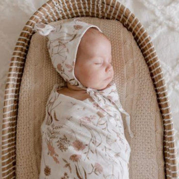 Bamboo Muslin Swaddle Wrap / Wild Meadow Pink - Dear Isla