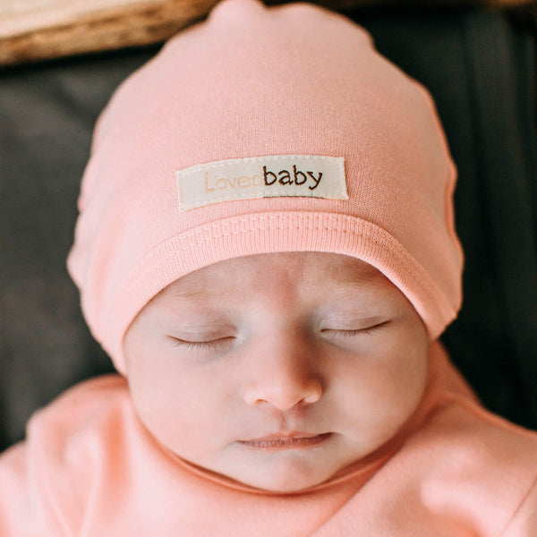 L'oved Baby Organic Matching Beanie / Coral - Dear Isla
