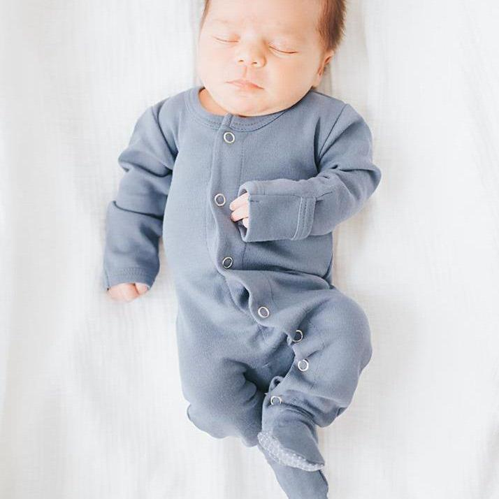 PREORDER Newborn Organic Footed Overall / Slate