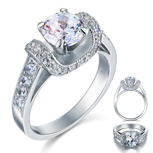 Simulated Sterling Silver Wedding Engagement Ring