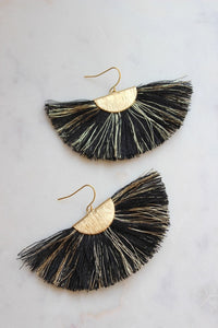 Black and Gold Earrings, Black and Gold Fan Tassel Earrings