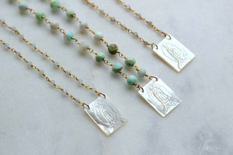 Blessed Mother Necklace, Virgin Mary Necklace, Rosary Chain Freshwater Pearl Mary