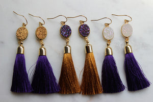 LSU Earrings, Purple and Gold Earrings, Tassel Earrings