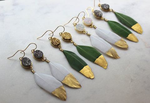 Feather Earrings, Druzy Earrings, Trendy Earrings