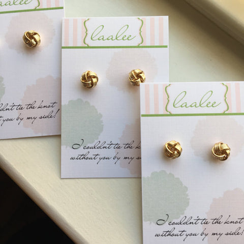 "Gold ""Tie the Knot"" Stud Earrings"