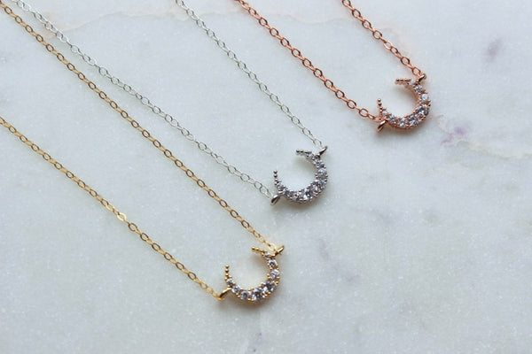 Crescent Moon Necklace, Half Moon Necklace, Celestial Jewelry