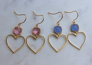 Gold Heart Earrings, Gold Heart Jewelry