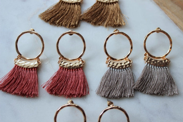 Hoop Stud Tassel Earrings