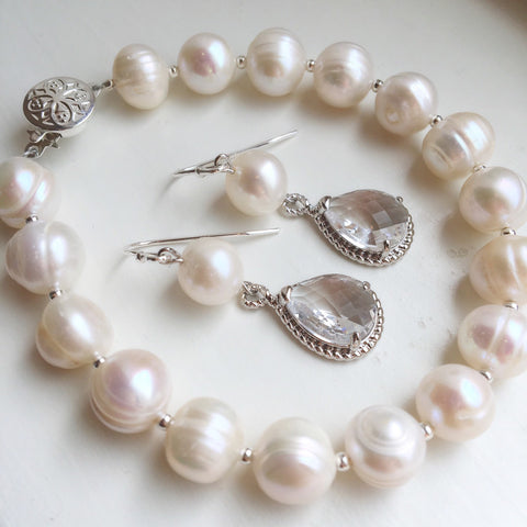 As seen on Instagram - Silver Freshwater Pearl bracelet & Freshwater Pearl Earrings with Crystal Teardrop