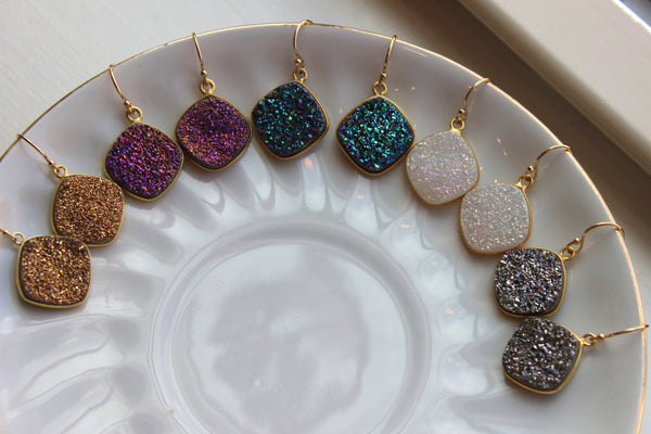 Druzy Earrings Gold Drusy Jewelry Gold Green Gray White Purple Druzy Earrings - Bridesmaid Jewelry - Christmas Gift - Wedding Earrings