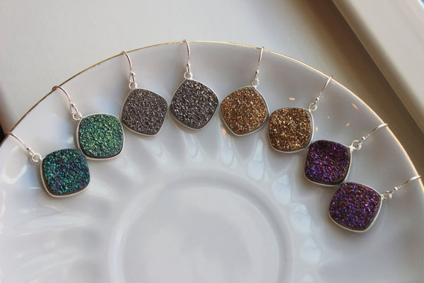 Druzy Earrings Silver Drusy Jewelry Gold Green Gray Grey Purple Druzy Earrings - Bridesmaid Jewelry Christmas Gift - Wedding Earrings