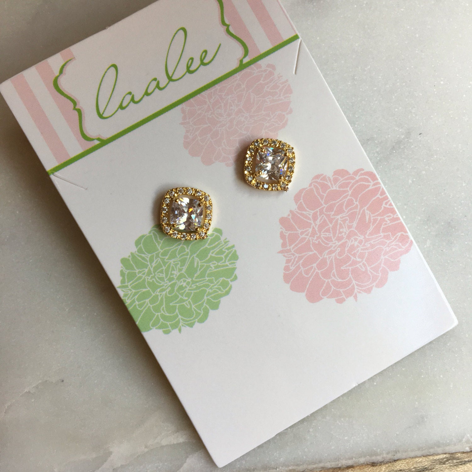 Gold Stud Earrings Crystal Post earrings Bridal Earrings - Wedding Jewelry - Bridesmaid Gift