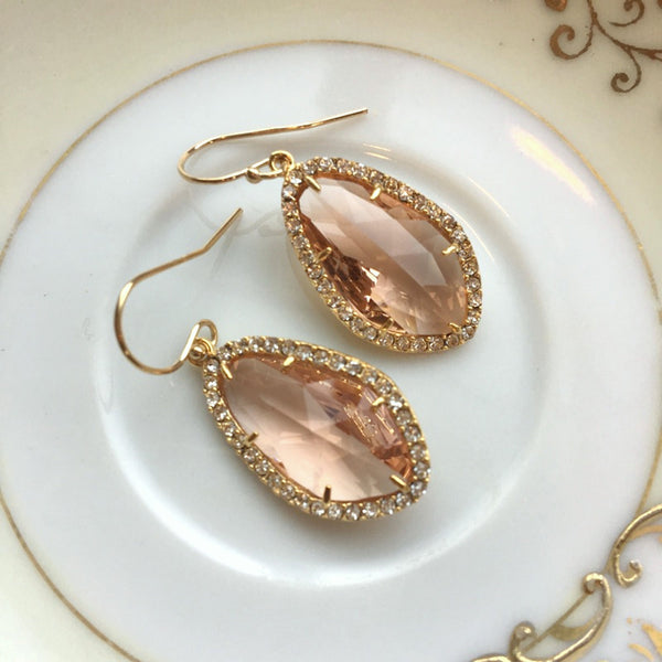 Large Gold Champagne Blush Earrings Crystal Clear Setting Peach Pink Jewelry - Blush Bridesmaid Jewelry - Peach Pink Wedding Jewelry