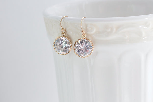 Gold Crystal Clear Round Earrings - CZ Crystal Jewelry Bridesmaid Earrings Bridal Earrings Wedding Earrings Bridesmaid Jewelry