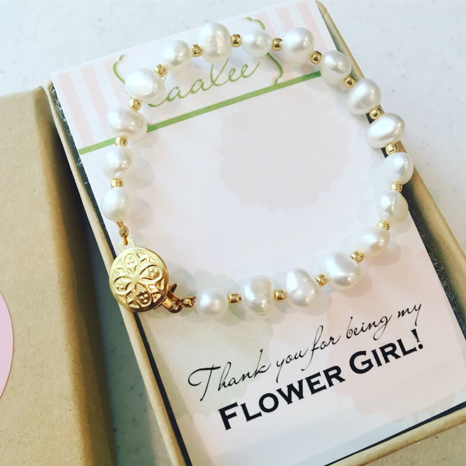 As seen on Instagram - Gold Freshwater Pearl Bracelet flower girl gift