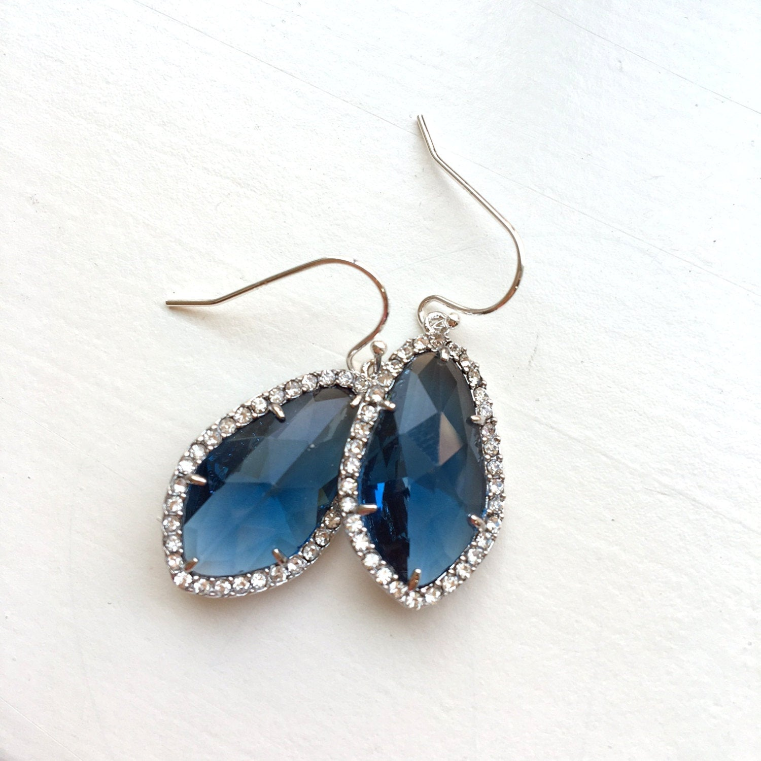 Wedding Jewelry Large Silver Sapphire Navy Blue Earrings Crystal Clear Setting Blue Jewelry - Navy Bridesmaid Jewelry - Bridal Earrings