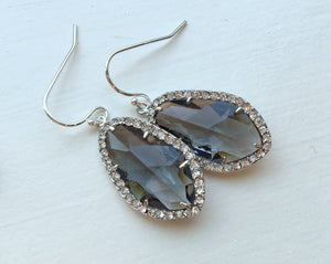 Wedding Jewelry Large Silver Charcoal Gray Earrings Crystal Clear Setting Grey Jewelry - Bridesmaid Jewelry - Bridal Earrings