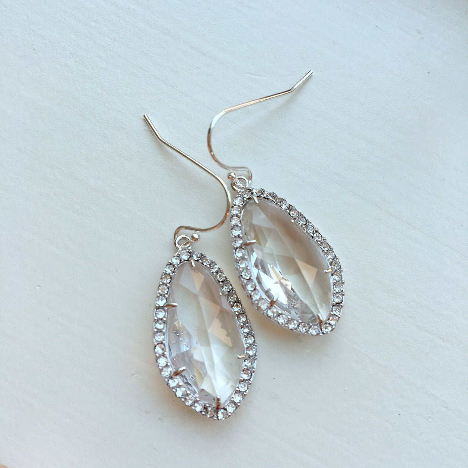 Wedding Jewelry Large Silver Crystal Clear Earrings Setting Crystal Jewelry - Bridesmaid Jewelry - Bridal Earrings