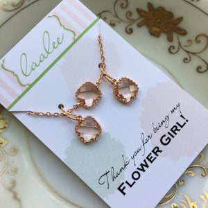 Rose Gold Jewelry Set - Rose Gold Champagne Blush Necklace and Earring Set Pink Peach Jewelry Set - Personalized Card - Flower Girl Jewelry
