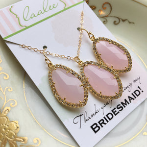 Gold Pink Blush Jewelry Set Large Earrings Crystal Clear Setting Pink Jewelry - Blush Bridesmaid Jewelry - Opal Pink Wedding Jewelry