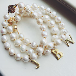 As seen on Instagram - Gold Freshwater Pearl Bracelet with Initial