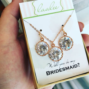 Rose Gold Crystal Jewelry Set - Wedding Jewelry - Bridesmaid Jewelry - Rose Gold Wedding - Bridal Jewelry Set - As Seen on Instagram