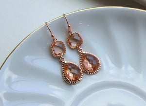 Bridesmaid Jewelry Rose Gold Blush Champagne Earrings Peach Earrings Teardrop Two Tier Wedding Earrings Wedding Jewelry Bridesmaid Jewelry