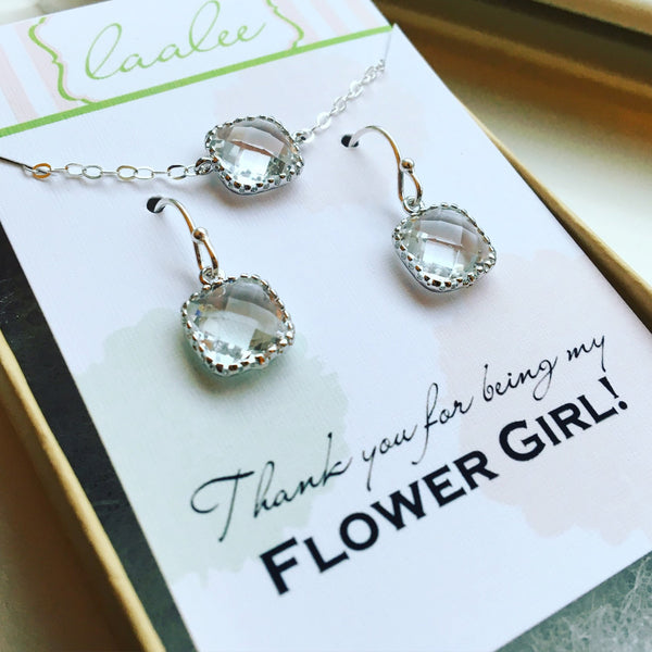 Silver Clear Crystal Necklace and Earring Set Crystal Jewelry Set - Personalized Card - Flower Girl Jewelry Set Bridesmaid Jewelry Wedding