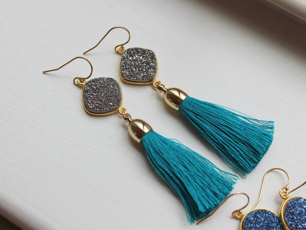 Gold Druzy Earrings Tassel Fringe Druzy Earrings Drusy Jewelry - Christmas Gift Tassel Statement Jewelry - Gold Fringe Jewelry Tassel