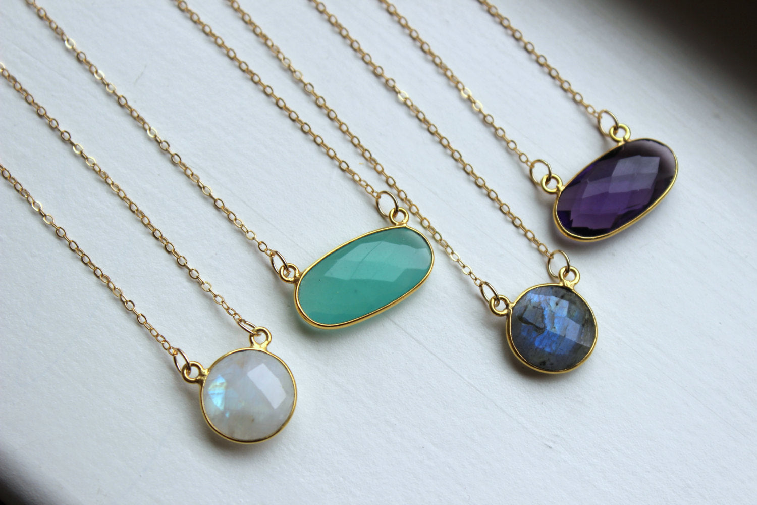 Gold Necklace Dainty Gem Necklace Gold Jewelry Labradorite Necklace Minimalist Necklace Jewelry Aqua Chalcedony Rainbow Moonstone Amethyst