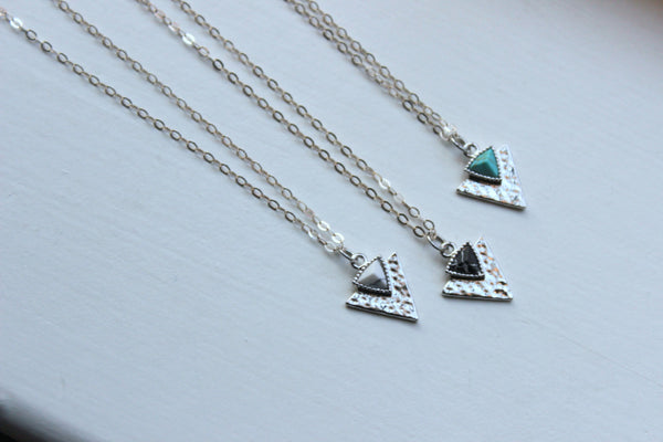 Silver Triangle Necklace, Triangle Jewelry, Silver Dainty Necklace, Minimalist Jewelry, Geometric Necklace Simple Necklace Turquoise Howlite