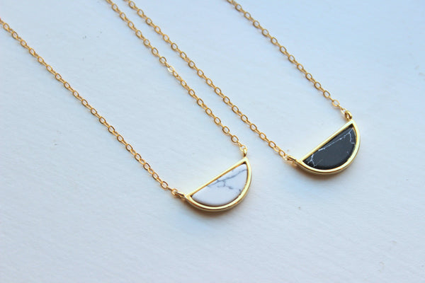 Half Moon Necklace, Howlite Jewelry, Black White Howlite Necklace, Gold Dainty Necklace, Minimalist Necklace, Marble Necklace Stone Jewelry