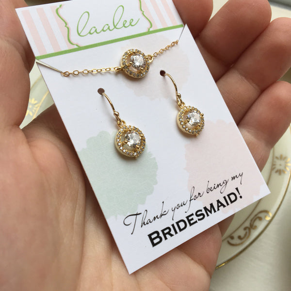 Gold Crystal Jewelry Crystal Earrings Crystal Jewelry Set Bridal Jewelry, Bridesmaid Gift, Bridesmaid Jewelry, Wedding Jewelry Set, CZ Clear