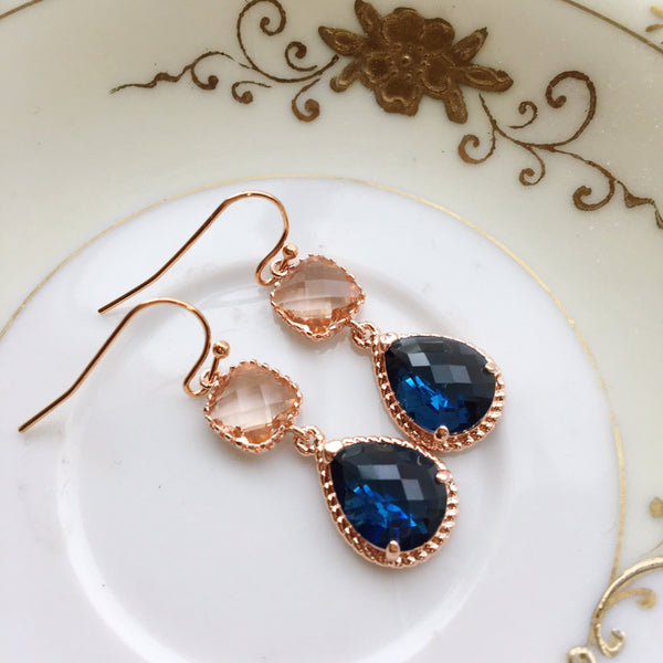 Rose Gold Blush Jewelry Champagne Earrings Sapphire Earrings Navy Blue Earrings Peach Jewelry Bridesmaid Earrings Wedding Bridesmaid Jewelry