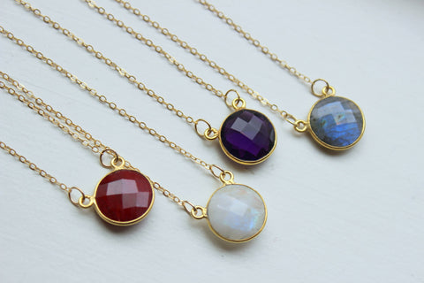Gold Necklace Dainty Round Gem Necklace Gold Jewelry Labradorite Necklace Minimalist Necklace Jewelry Ruby Rainbow Moonstone Amethyst