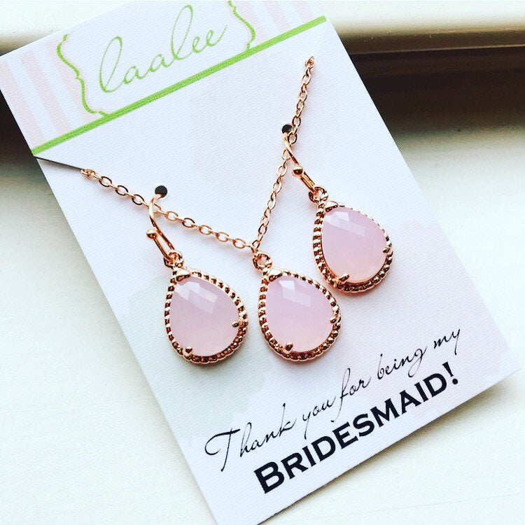Pink Jewelry Set Blush Necklace and Earring Set Pink Rose Gold Jewelry Set - Personalized Card Thank you for being my bridesmaid - Wedding