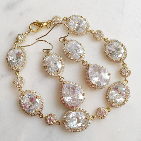Gold Crystal Earrings and Bracelet Set - Gold Clear CZ Jewelry Set - Gold wedding - Bridal Jewelry - Bridesmaid Jewelry Wedding Jewelry