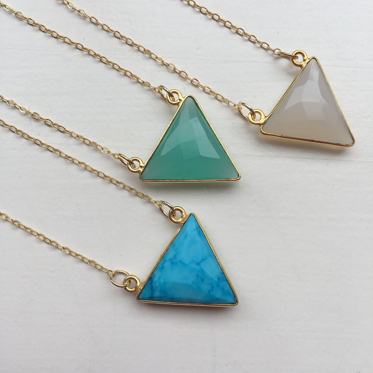 Gold Triangle Necklace, Gemstone Necklace, Gemstone Jewelry, Triangle Jewelry, Gift for Her, Turquoise White Aqua Chalcedony Dainty Necklace
