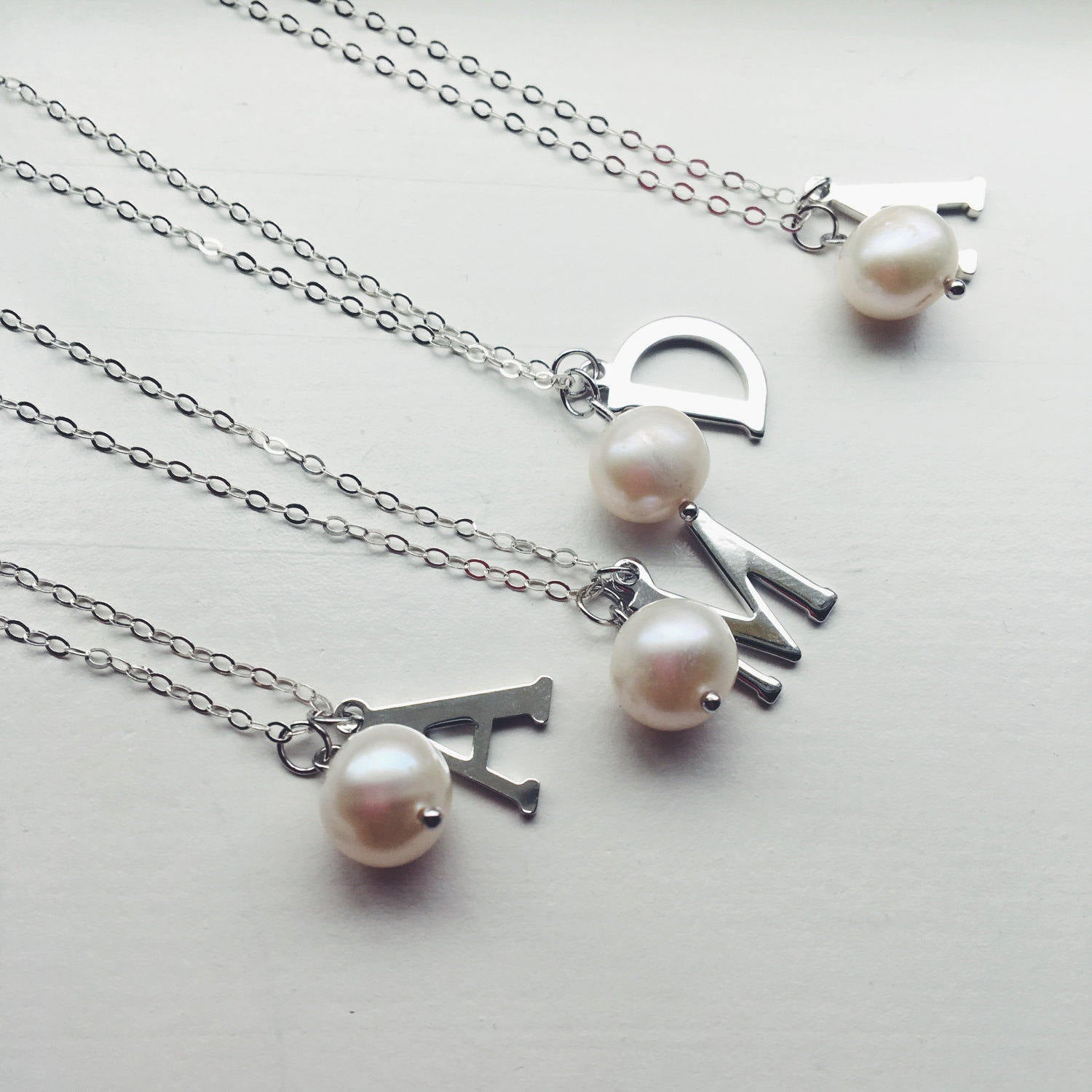 Silver Freshwater Pearl Necklace White Pearl Initial Necklace Sterling silver chain - Bridesmaid Jewelry - Wedding Jewelry