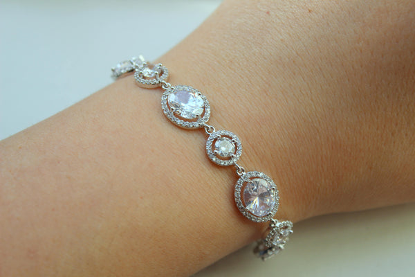 Bridal Bracelet, Wedding Bracelet, Wedding Jewelry, Statement Bracelet, CZ Crystal Bracelet, Clear Bridal Jewelry, Silver Clear Jewelry Gift