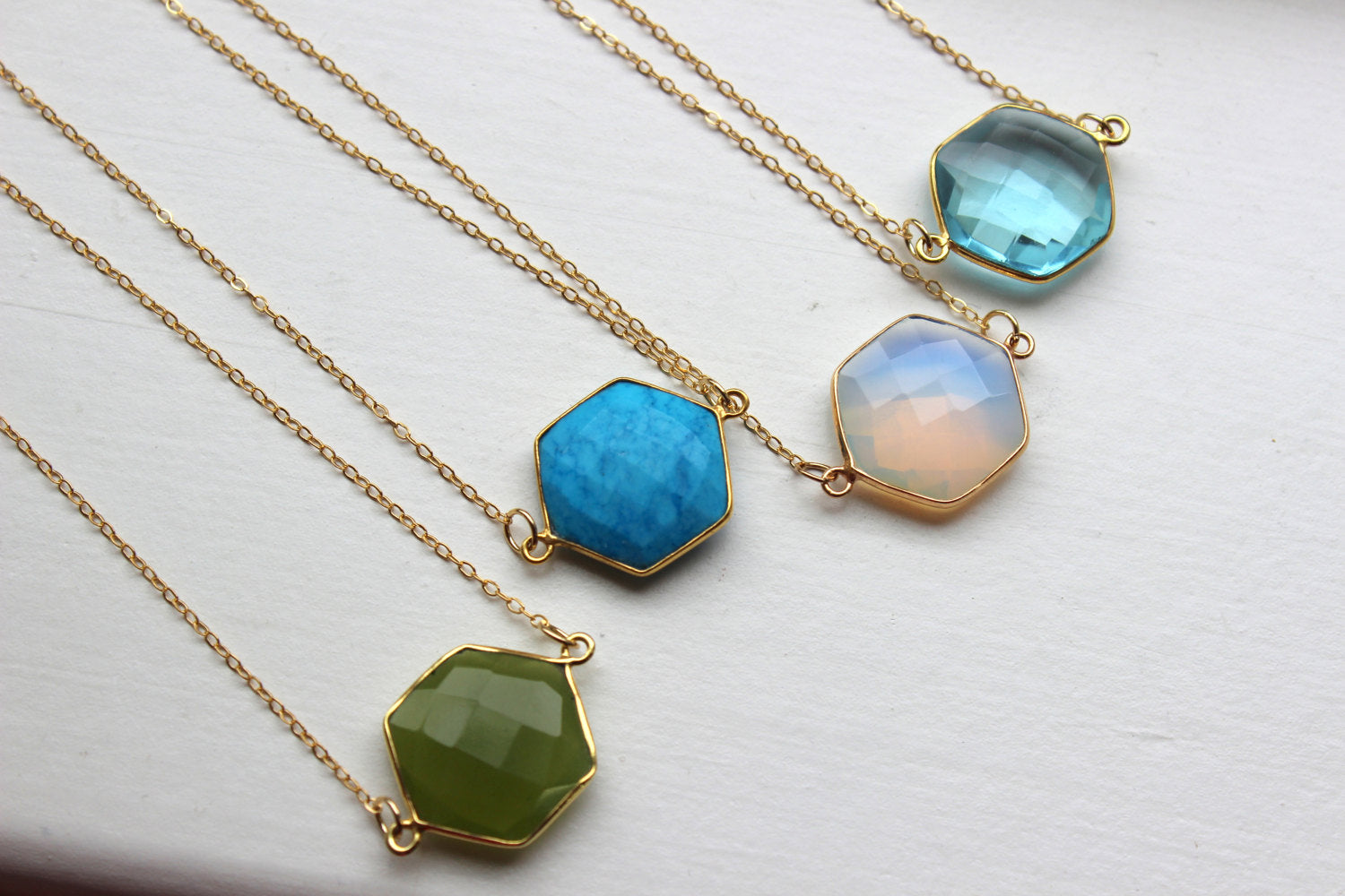 Gemstone Necklace, Gemstone Jewelry, Geometric Necklace, Geometric Jewelry, Hexagon Gold Statement Necklace Gold Dainty Jewelry Gift for Her