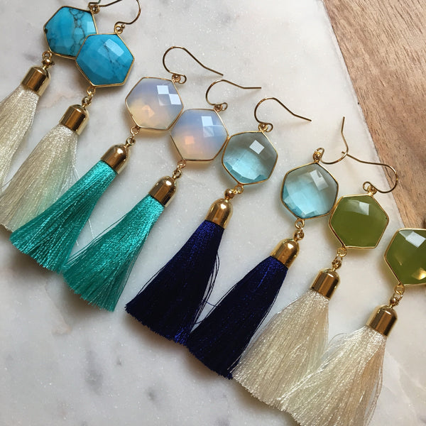 Gold Tassel Earrings, Gemstone Jewelry, Gemstone Earrings, Tassel Jewelry, Fringe Earrings, Statement Earrings, Statement Jewelry