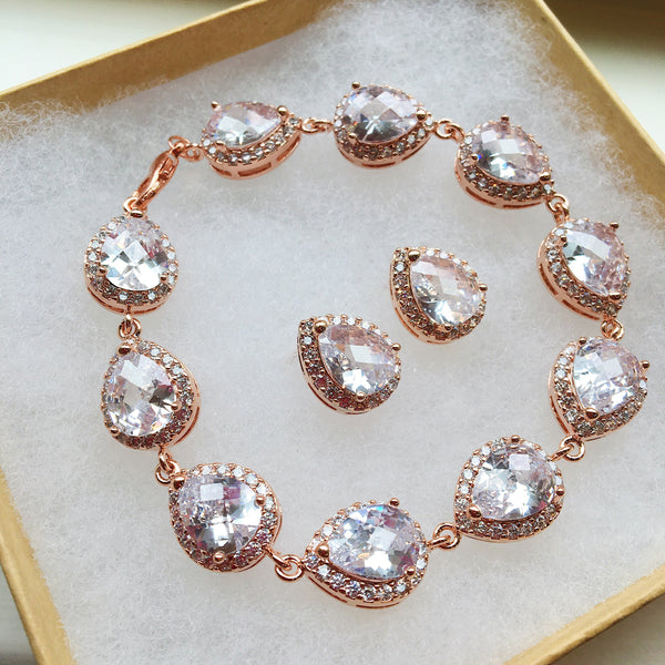 Rose Gold Jewelry Set, Crystal Jewelry Set, Teardrop Jewelry, Wedding Jewelry Set, Bridesmaid Jewelry Set, Bridal Jewelry, Bridal Bracelet