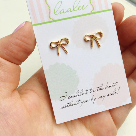 Tie the Knot Earrings, Stud Gold Bow Earrings