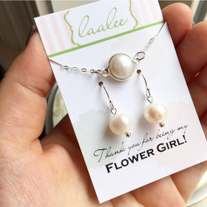 Freshwater Pearl Earrings, Freshwater Pearl Bracelet, Coin Pearl Jewelry, Flower Girl Jewelry Set, Toddler Jewelry, First Communion Jewelry