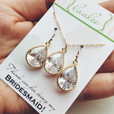 Crystal Jewelry Set, Gold Jewelry Set, Clear Jewelry Set, Crystal Bridesmaid Jewelry, Bridal Jewelry, Wedding Jewelry, CZ Teardrop Jewelry