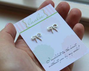 Tie the Knot Earrings Silver Knot Earrings Love Knot Stud Earrings Dainty Bridesmaid Gift Bow Earrings Ribbon Earrings Bridesmaid Jewelry