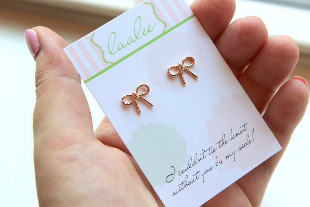 2466f1833 ... Tie the Knot Earrings Rose Gold Knot Earrings Love Knot Stud Earrings  Dainty Bridesmaid Gift Bow