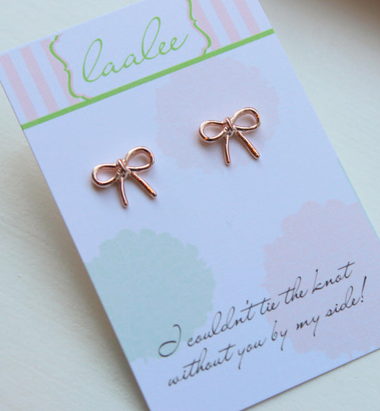 Tie the Knot Earrings Rose Gold Knot Earrings Love Knot Stud Earrings Dainty Bridesmaid Gift Bow Earrings Ribbon Earrings Bridesmaid Jewelry